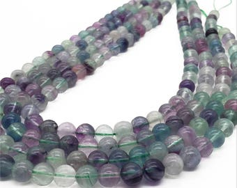 8mm  Rainbow Fluorite Beads. Round Gemstone Beads