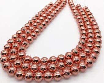 10mm Rose Gold  Hematite Beads, Round Hematite Beads, Hematite Jewelry