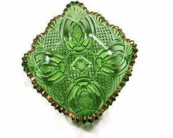 Vintage GREEN GLASS DISH Candy Dish Vintage EAPg Style Cut Glass Look with Gold Edge Candy Bowl Mothers Day