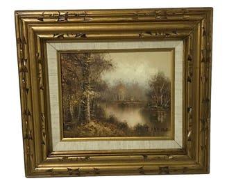 Original Oil Painting By J Medina Framed Art Nature Landscape Mid Century Oil Painting By Listed Artist J Medina Wall Art