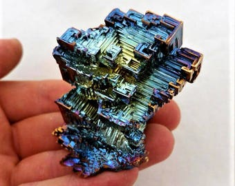 Rainbow Bismuth Crystal 162g Plaque Lab Grown Jewelry Display Specimen Educational Metaphysical Metal Transformation Stone
