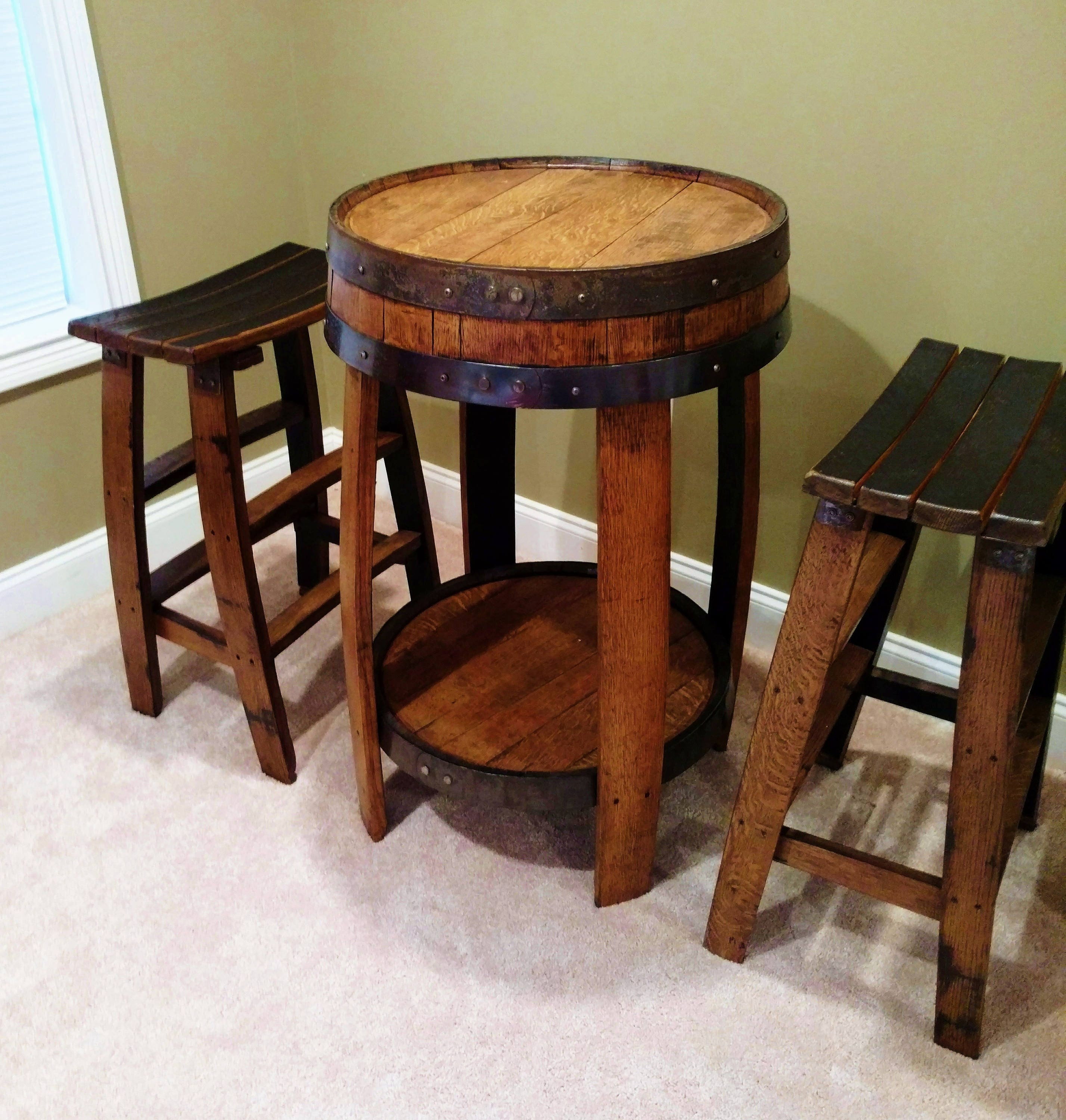 whiskey barrel pub table handcrafted from a whiskey barrel