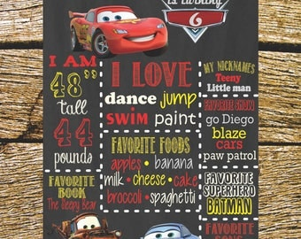 Cars printable birthday Board.