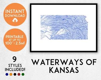Kansas map print, Printable Kansas map art, Kansas print, Kansas art, Kansas poster, Kansas wall art, Kansas gift, Map of Kansas, USA map