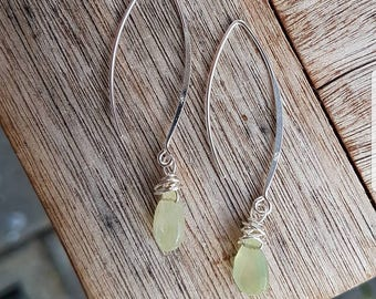 Earrings 925 Solid sterling silver with Chalcedony stones