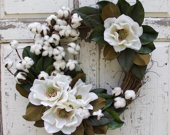 Magnolia Wreath, Magnolia Leaf Wreath, Front Door Wreath, Year Round Wreath, Summer Wreath, Everyday Wreath, Natural Wreath, Fixer Upper