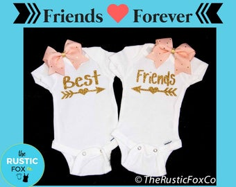 Twin Bodysuits, Twins Onesies, Best Friends, Twin Girl Onesies, Twin Clothing, Girl Twins, Newborn Twins, Best Friend Onesies, Twins, Twin