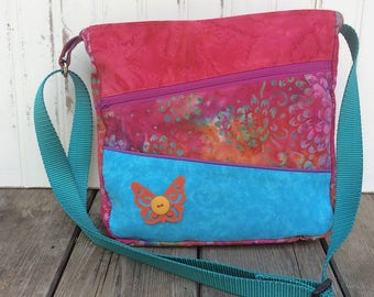 Turquoise and Red Multicolored Crossbody Bag