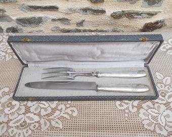 Vintage Boxed APOLLONOX vintage carving set, Silver plate handles