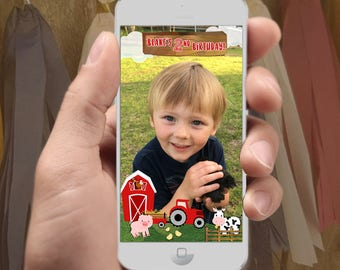 Farm Animals Snapchat Filter Design - Custom Name & Age -Barn Barnyard, Tractor, Pig, Cow, Chicks, Fence, Barn Party Birthday or other event