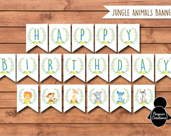 Jungle Birthday Banner. Jungle Birthday Party. Party Supplies. Baby Shower