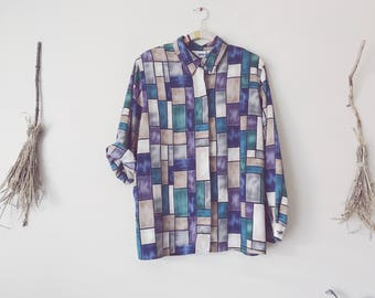 Stained Glass 80s Print Design Shirt