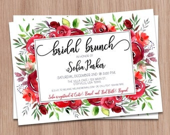 Bridal Brunch Invitation Red, Brunch Bridal Shower Invitation Red, Red Floral Bridal Shower, Printable Bridal Brunch Shower Invitation