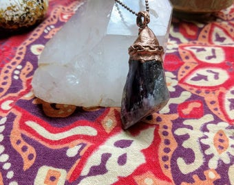Large Banded Amethyst and Copper pendant