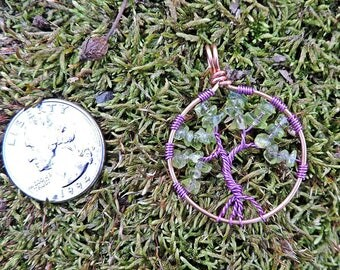 OOAK Tree of Life Peridot Chips with Purple Jewelry Wire pendant