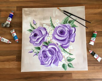 Roses - Hand-painted Acrylic Canvas