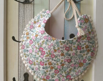 Reversible Pink Turquoise Floral Cotton Lace Baby Bib