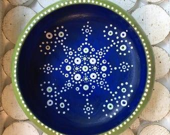 Mandala Jewelry Dish | Wood Bowl :  Colorful Dot Art