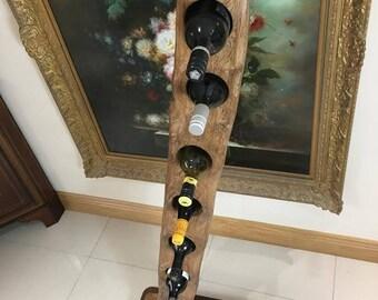 "Wine bottle holder ""Leaning Tower of Vino"" 6 bottle wine storage. Handmade furniture. Gift, housewarming, birthday, Christmas home decor."