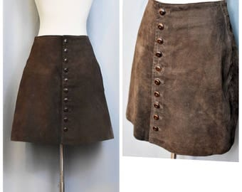 Express Leather Mini A-Line Button Up SKirt