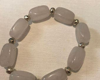 Large Rose Quartz Stones with Silver Beads