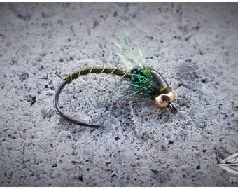 Olive Flash Bead Head Buzzer - Fly Fishing Flies