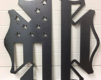 Steel Firefighter Maltese Cross with American Flag Sign