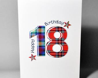 Tartan Number 18 Birthday Card WWTN18
