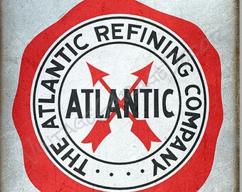 """Vintage Style """" Atlantic Motor Oil - The Atlantic Refining Company """" Metal Sign, Rusted"""