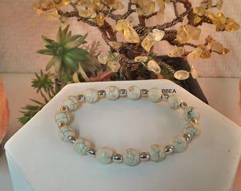Wellness magnesite Bracelet 8mm and barrel beads