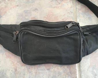 Black Leather Fanny Pack Vintage Bum Bag Waist Pack