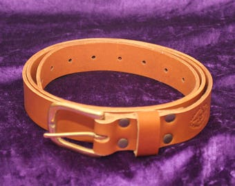 "Saddle Tan 'Leighton"" Leather Belt"