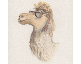 Mini original watercolor painting of a cool camel. Small original artwork of a camel the perfect lighthearted gift. Wildlife art home decor