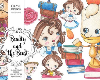 Beauty and The Beast#2 Watercolor Clip Art Disney Clip Art Disney Princess Clip Art Fairy Tail Watercolor Clip Art