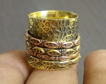 Tribal spinner rings band | Indian meditation jewelry rings | 4 spinning ring | Festive gift jewelry | Texture yoga bands jewelry Band |R150