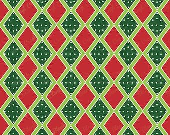 Polka Dot Red and Green Diamond Pattern Vinyl, HTV and Outdoor Vinyl, Plaid Vinyl, Printed Vinyl, Printed HTV, Christmas Vinyl