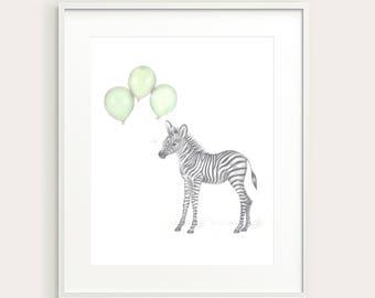 Baby Zebra.Baby Animal.Nursery Print. Nursery/Kid's Wall Decor.Wall Art. Art Print.Kid's Room Print.Nursery Art. Baby Animal. Baby Wall Art.
