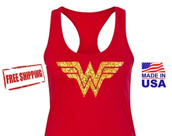 Wonder Woman, Wonder Woman Shirt, Wonder Woman Tank Top, Wonder Woman Movie Marathon with Gold Glitter Emblem. Costume, Womans Tank. Fast Sh
