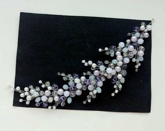 Bridal silver hair vine,Wedding headpiece ,Hair vine for Bride,Bridesmaid headpiece