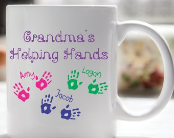 Grandma's Helping Hands Coffee Mug, Grandparents Day, Grandparents Gift, Grandma Coffee Mug