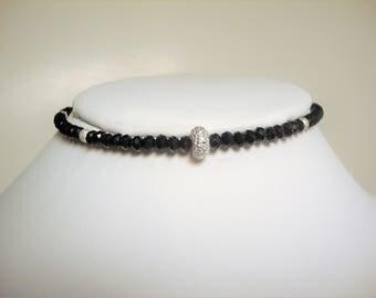 Swarovski Crystal Beaded Choker, Beaded Choker, Crystal Choker, Swarovski Beads, Sparkly Choker, Boho Chic, Silver Beads,Memory Wire Choker