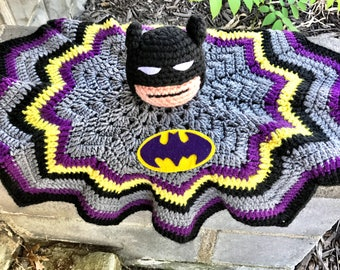 Batman Plushie, Batman Security Blanket, Batman Lovie, Purple Batman Lovie, Purple Batman, Baby Girl Lovie