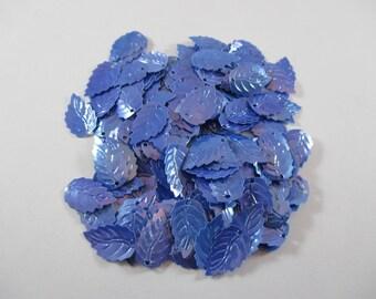 Sequin sewing, leaf, color blue.
