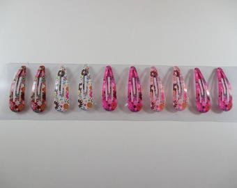 10 clips clap, little girl or baby, patterned metal strip.