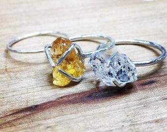 Raw stone ring raw gemstone ring