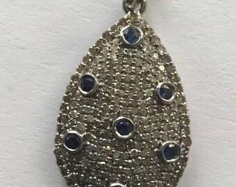 Pave diamond blue sapphire sterling pendant