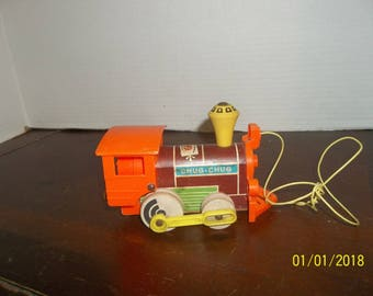 vintage fisher price chug chug train wooden & plastic pull toy