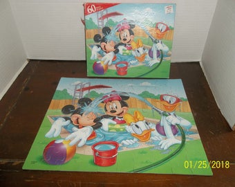 vintage walt disney mickey minnie daisy donald swimming 60 piece puzzle