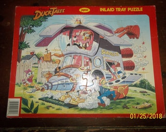 vintage 1986 jaymar walt disney duck tales launch pad inlaid frame tray puzzle