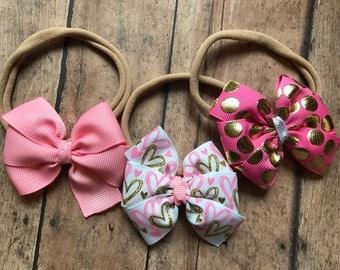 Valentine's Day headband, pink headband, heart headband, baby headband set